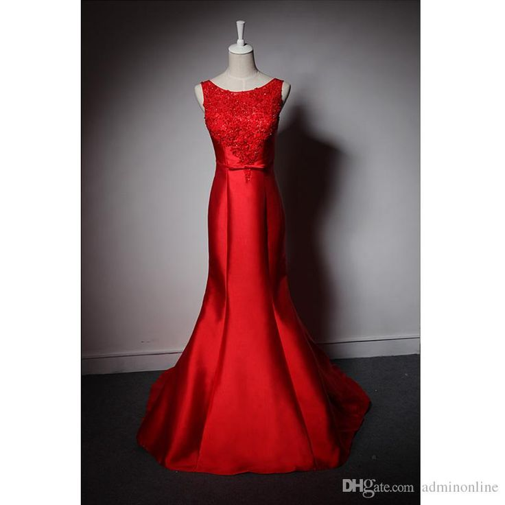 Prom Dresses For Kids Exclusive Satin Red Mermaid Prom Dress Beaded Scoop Neck Tulle Women Long Dresses For Evening Party Bow Sash Custom Made Prom Dress Shop From Adminonline, $100.12| Dhgate.Com