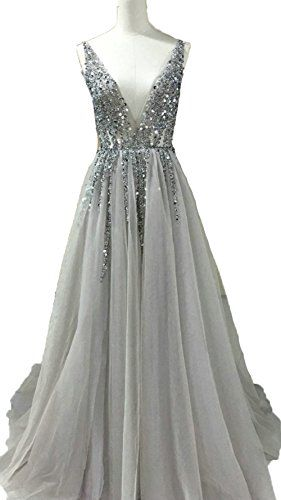 015b9dd05f7a4 Beautiful BessDress V-Neck Evening Dresses Sequins Tulle High Split Prom  Formal Party Gown BD272 online.   114.99  offerdressforyou from top store