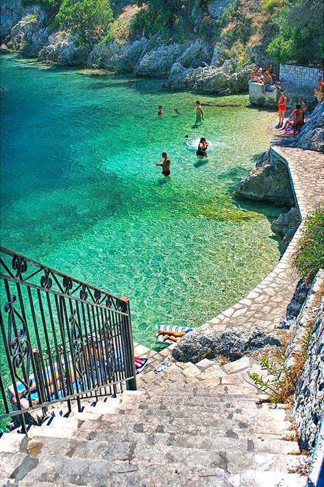 Ithaca Island, Greece.  I love Ithaca, NY so I'd love to check out Ithaca in Greece! :)