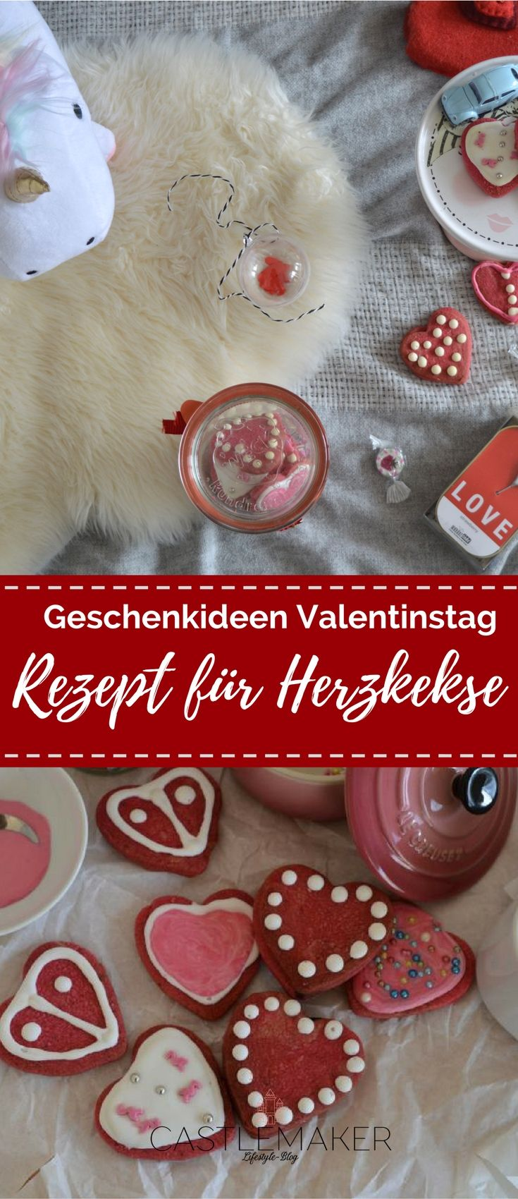 Geschnkeideen zum Valentinstag. Wie wäre es mit selbstgebackenen Herzkeksen schon verziert mit Royal Icing? Das Rezept dazu und viele weitere Geschenktipps gibt es nun auf meinem Blog: Anzeige #cookies #kekse #rezept #valentinstag