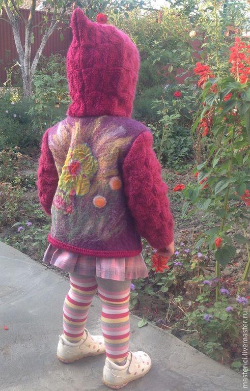 Купить Кофточка - курточка валяная детская - фиолетовый, однотонный, куртка с капюшоном, куртка на молнии