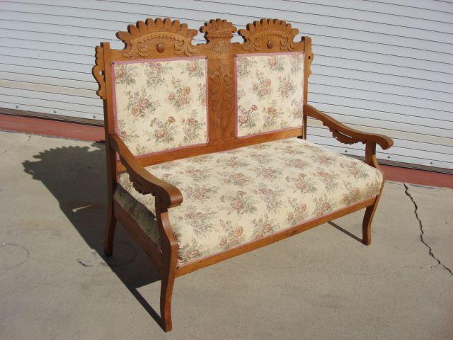 American Antique Victorian Settee Sofa Bench Eastlake