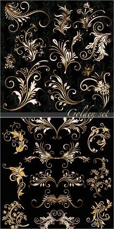 Golden floral ornaments vector. 2 sets of vector golden floral ornaments with some decorative swirls for your classic designs. Format: EPS stock vector clip art. Free for download. Theme: vector ornaments.