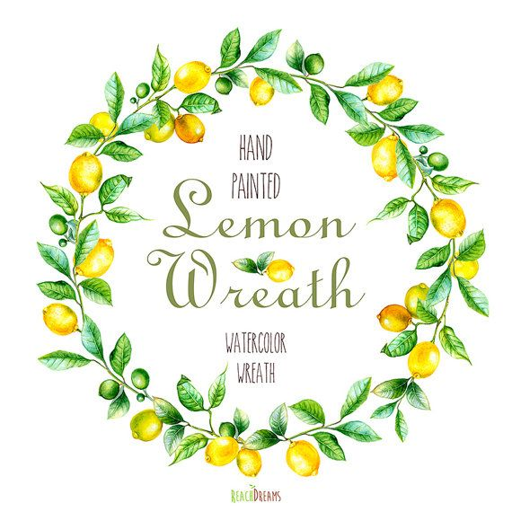 Lemon Wreath Watercolor. Hand painting fruit art, kitchen, food wall art. Digital png, DIY invites, scrapbooking. Yellow summer fruits