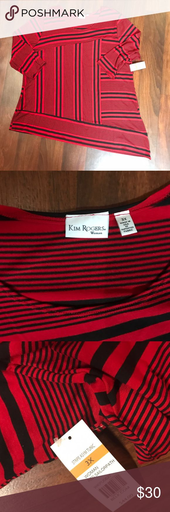 Kim Rogers Plus Size Red and Black Stripe Top 3X NWT Kim Rogers Plus Size Red & Black Striped Top. Size 3X. 3/4 sleeves. All items come from smoke free and pet free home. I ship daily and do bundle discounfs. Kim Rogers Tops Blouses