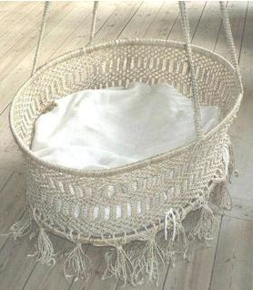 macramed swinging cradle Shabby Chic Baby Nursery <3