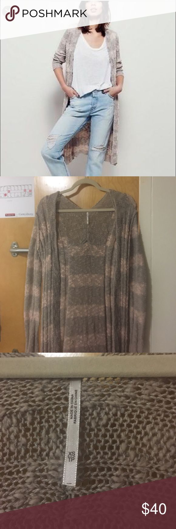 Free People Long Knit Cardigan beige and blush striped knit long cardigan, goes to about mid calf. never worn Free People Sweaters Cardigans
