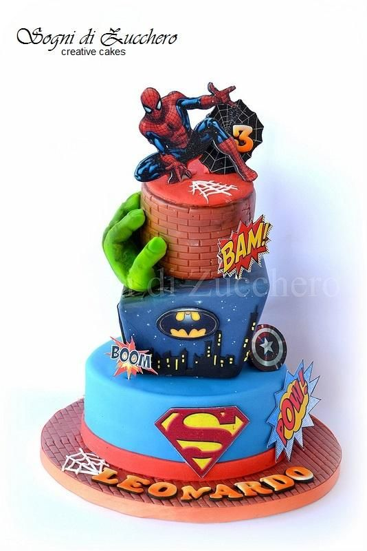 Super Heroes Cake-Love this for my adorable grandsons....Cooper, Gage, Maddox :)