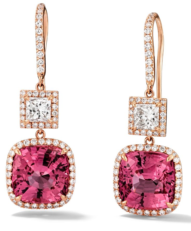 Rosendorff Amore Collection Pink Sapphire and Diamond Drop Earrings