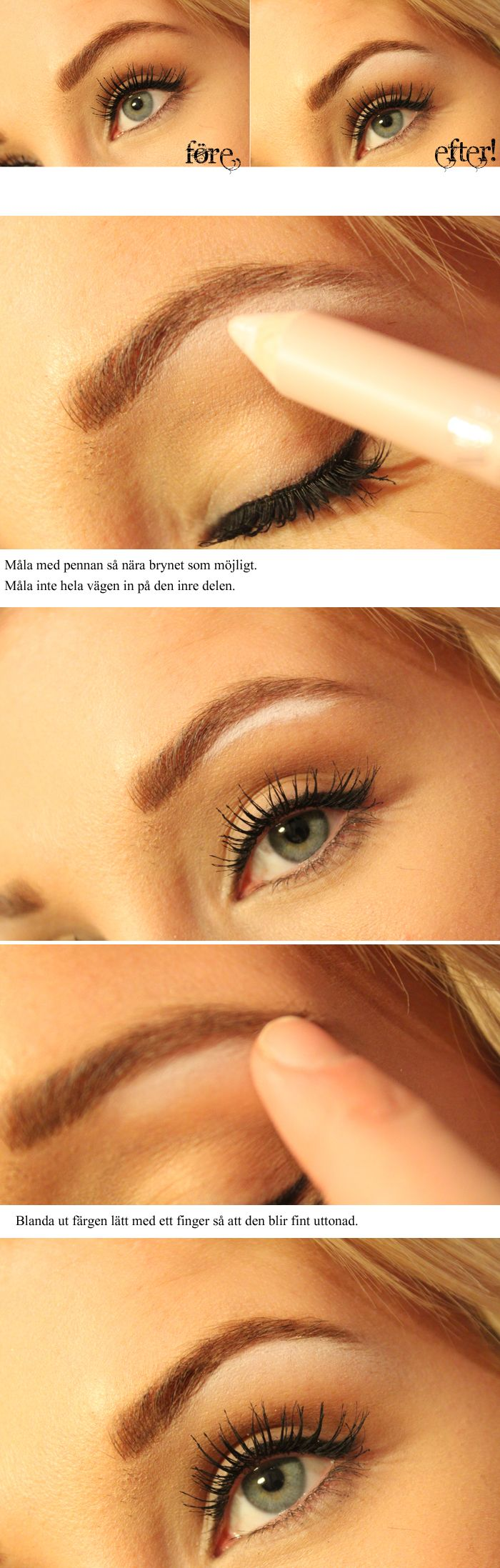 Before and After for highlighting your brows! Always do this, makes such a difference