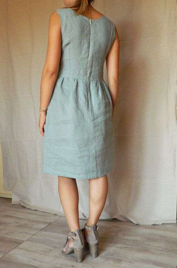 Linen dress linen aquamarine dress short dress by Easyatelier