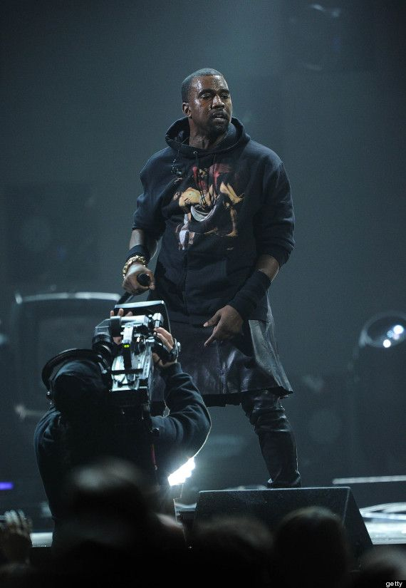 Kanye West's Skirt At 12-12-12 Concert: Rapper Wears Leather Givenchy Skirt (PHOTOS, VIDEO)