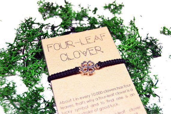 Pulsera de Trebol de cuatro hojas. Pulsera hecha a mano de