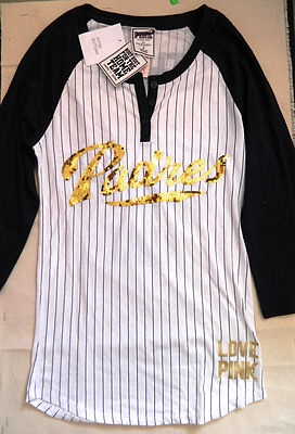 New Victorias Secret Pink San Diego Padres MLB Baseball Navy Blue Bling T Shirt | eBay