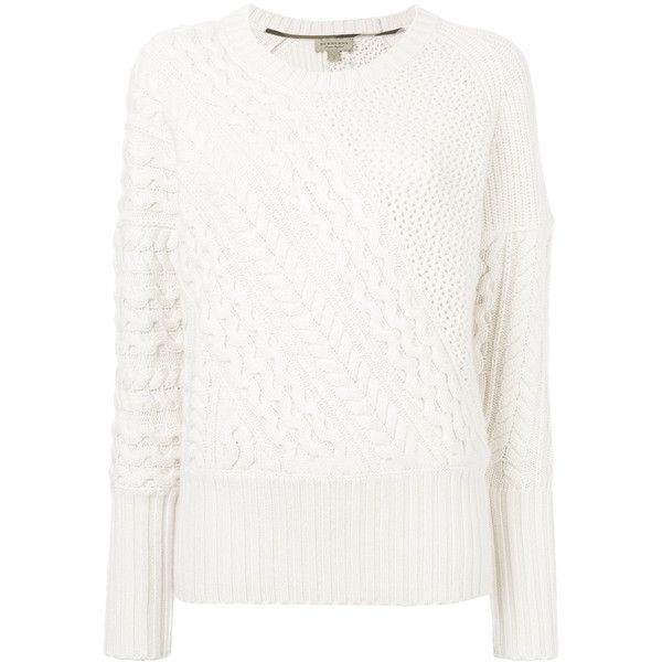 Burberry cable knit jumper (2.075 BRL) ❤ liked on Polyvore featuring tops, sweaters, white, cable jumper, white top, long sleeve tops, white long sleeve top and chunky cable knit sweater