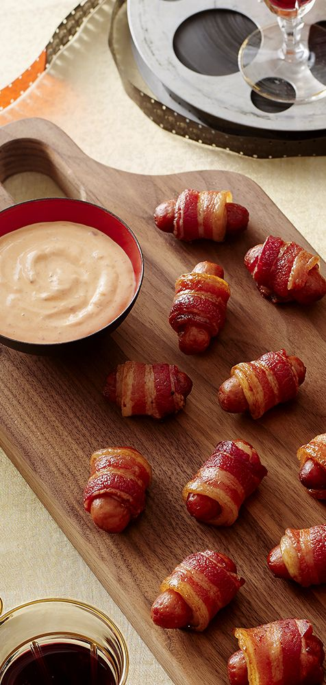 Make a savory snack to go with your Sunday TV time! Bacon Wrapped Lit'l Smokies Smoked Sausages go great with your favorite show.