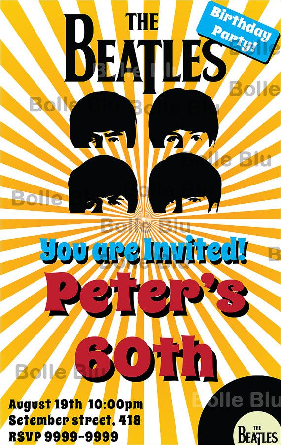 76 best images about Hippie 1960s Party – Beatles Party Invitations
