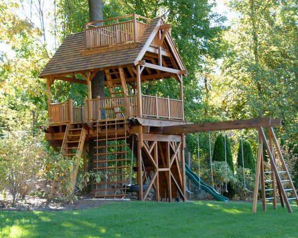 Modify existing treehouse to include swing addition.Tree House With Swing Set Ba…