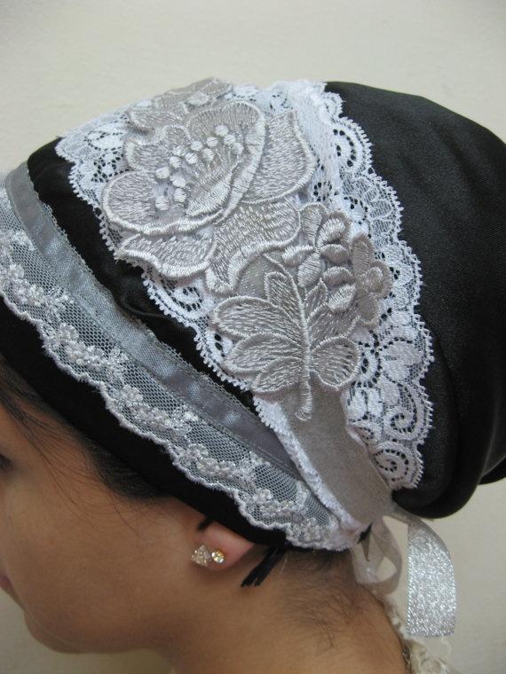 Fancy Black & White Lace, by Oshrat Designz. sinar apron-shaped headscarf, head scarf, scarf, scarves, tichel, mitpachat, hat, cap, snood, bandana, hair cover, haircover, haircovering, head cover, headcover, headcovering, hijab, modest, modesty, tznius, tzniut
