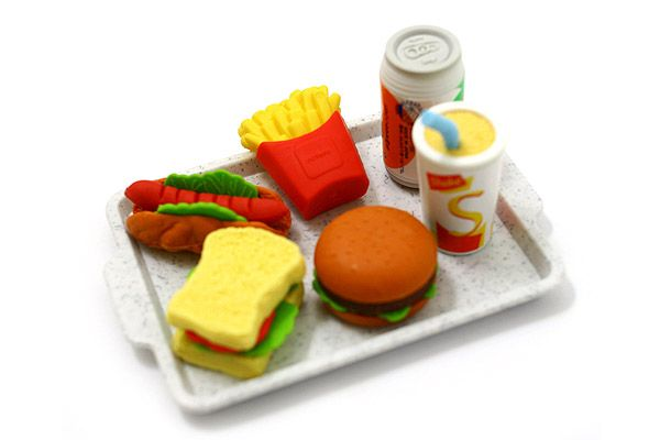 Iwako American Fast Food on Tray Novelty Eraser - 6 Piece Set  by Iwako $5.75.  This is fast food I could get my head around.lDolls Food, Novelty Erase, Trays Novelty, Erase Shape, Fast Foods