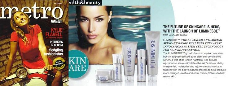 """Jeunesse® LUMINESCE has made headlines again, this time in a half-page feature in Metrowest Magazine with a readership of 450,000, entitled """"THE FUTURE OF SKINCARE IS HERE WITH THE LAUNCH OF LUMINESCE™ from Jeunesse Global."""""""