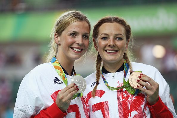 Team GB's silver medalist Rebecca James and bronze medalist Katy Marchant in the…