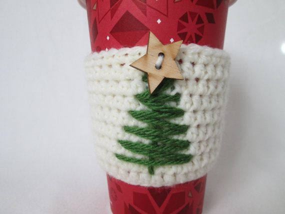 Cream crochet coffee cozy with christmas tree by BerniceMatisse, $9.50 #Christmas #crochet coffee cozy
