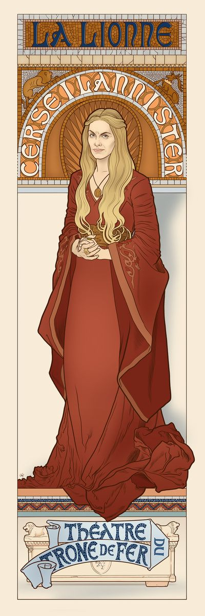Cersei Lannister, the Lioness. Alphonse Mucha inspired art from Game of Thrones…