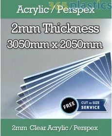 2mm Acrylic Perspex Sheet-Clear-3050mm x 2050mm