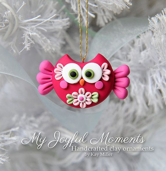 Handcrafted Polymer Clay Owl Ornament