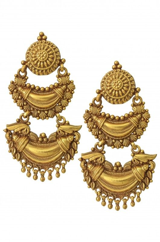 Silver Gold Plated Antique Style Crescent Earrings