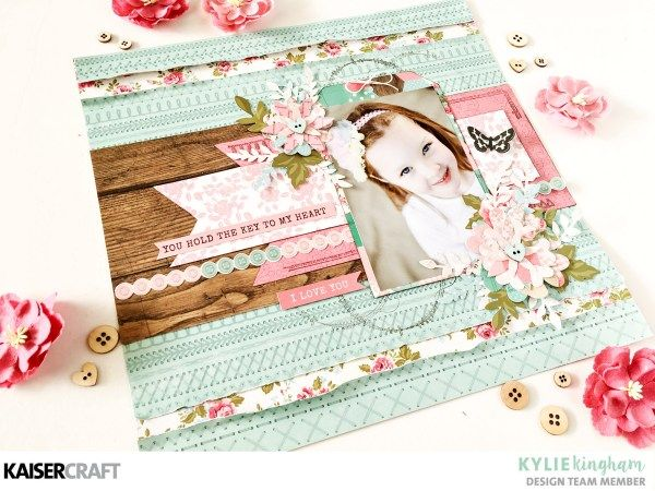 """Tutorial Tuesday- """"Love Blooms"""" layout with Kylie. Video included. - Kaisercraft Official Blog"""