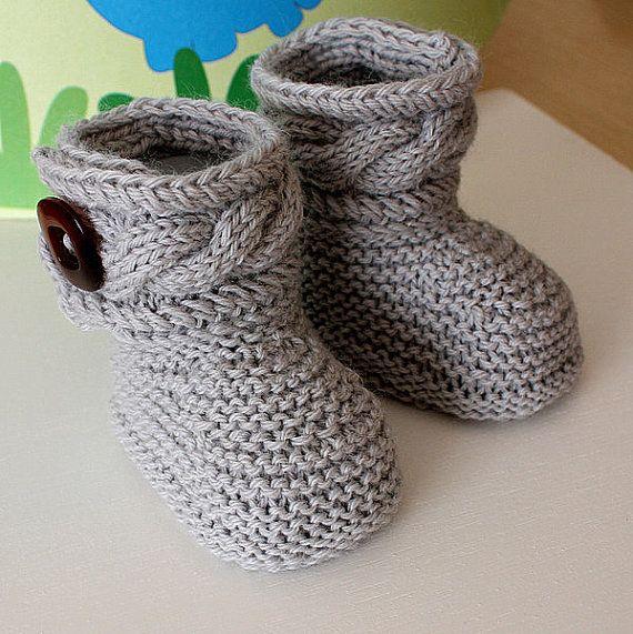 Téléchargement instantané - modèle de tricot (fichier pdf) élégant Baby Boots (tailles 0-6 / 6-12 mois)
