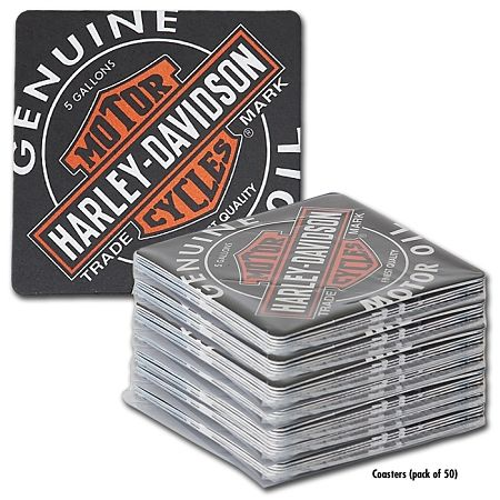 Harley-Davidson Oil Can Coaster Bar Caddy (PACK OF 50)