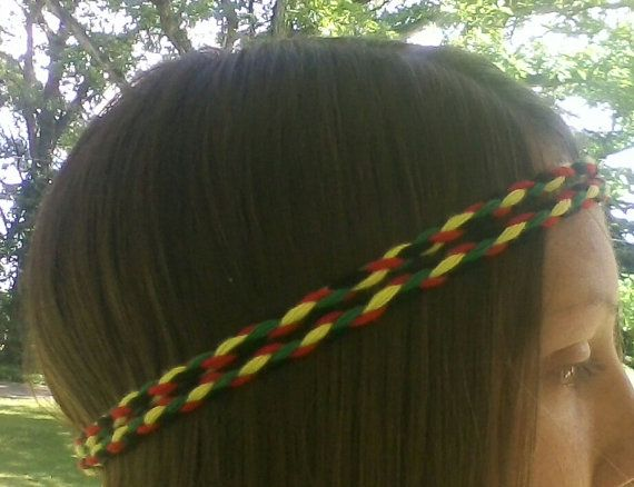 Rasta, Colors,  Reggae, Head Band, Braided, Wrap, Rastafarian, Hippie, One Love, boho, headband, Red, Green, Yellow, Black