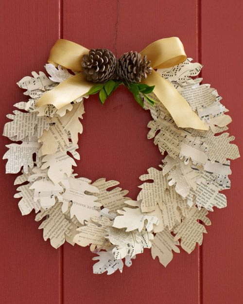 Paper Leaf Wreath....courtesy of Martha Stewart....template is provided I love this idea. I think it would be great in the shape of christmas trees using old christmas cards!