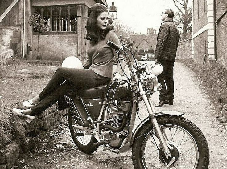 Motorcycles on vintage girls