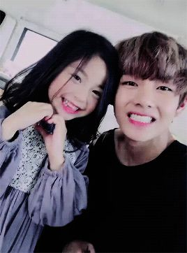 Our Taehyung and the little model! :3
