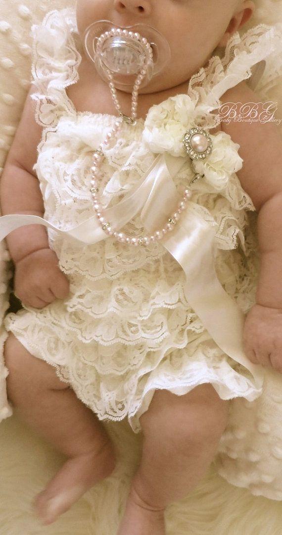 Baby Boutique 2 flor gasa marfil con perla por OnlyPealsAndLace