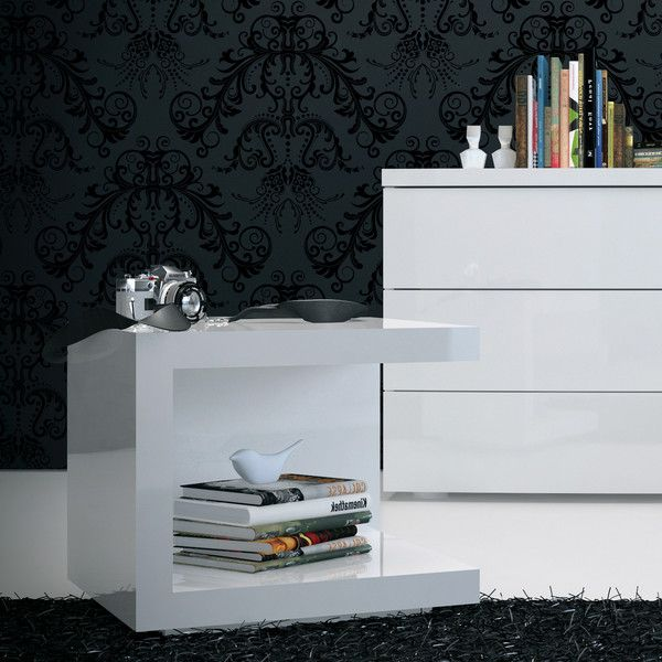 ludlow nightstand, white lacquer