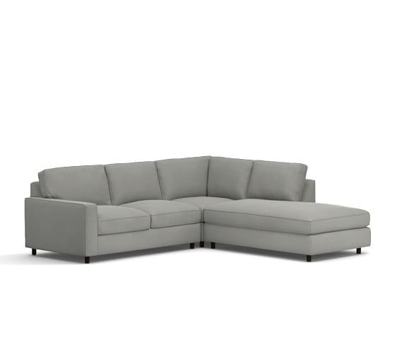 pb comfort square arm upholstered 3piece bumper sectional with corner
