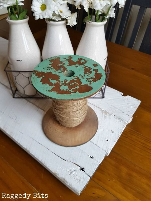 Large Farmhouse Wooden Spool with Twine