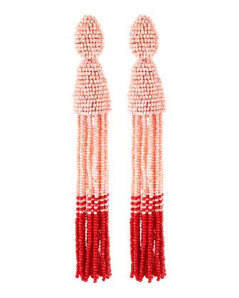 Long Beaded Tassel Clip-On Earrings, Blush/Red by Oscar de la Renta at Bergdorf Goodman.