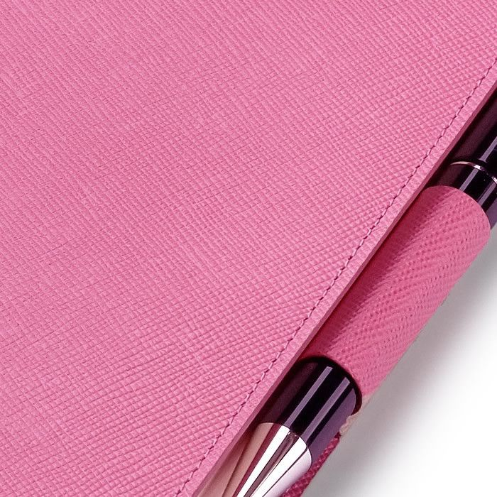 Leather Refillable Diary in Pink Saffiano