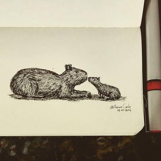 Dia 08: Capivara e seu filhote... #desenhosdoalti #desenhos #sketch #sketchers #sketchbook #art #artlovers #artbrazil #artworks #instaart #instartist #illustration #Zoo #Instazoo #filhotes #capivara #action #movimento #Week #dibujo #Nankin #draw #drawing #artautorias #art_spotlight #iLike #FTA