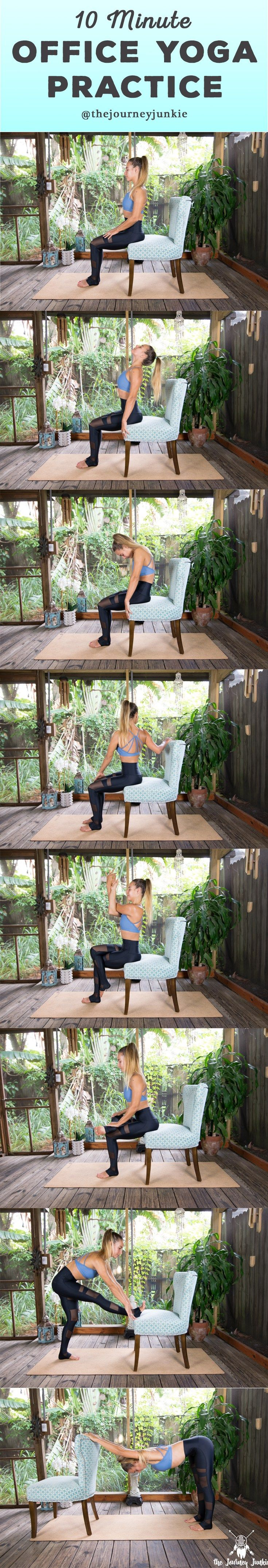 Office Yoga: 10 Minute Routine to Release Tension - Pin now, do at work tomorrow!