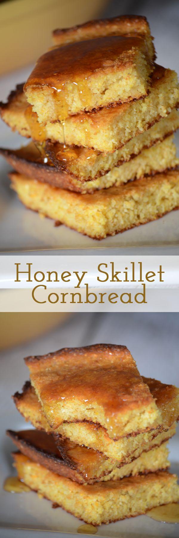 Honey skillet cornbread   Recipe   Skillets, Honey cornbread and ...
