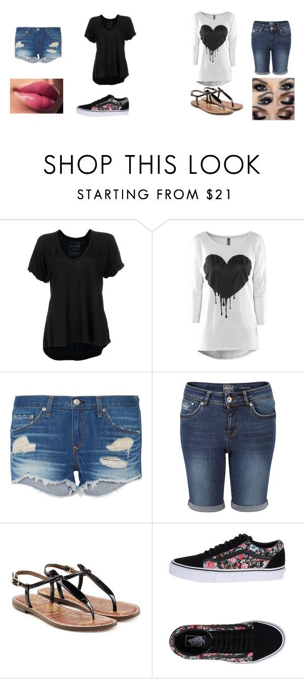 """Acidia & Brianna"" by leslie-pena ❤ liked on Polyvore featuring Free People, rag & bone, Superdry, Sam Edelman and Vans"