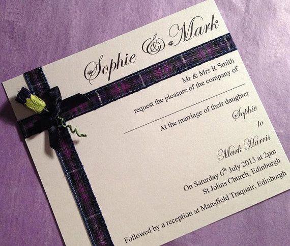 Scottish Wedding Invitation, Thistle Invitation, Tartan Invite