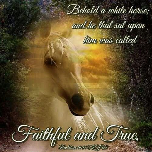 "Revelation 19:11 (1611 KJV !!!!) "" And I saw heaven opened, and behold a white horse; and he that sat upon him was called Faithful and True, and in righteousness he doth judge and make war."""